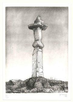 Glenkiln Cross, Plate II - Original Etching by Henry Moore - 1973