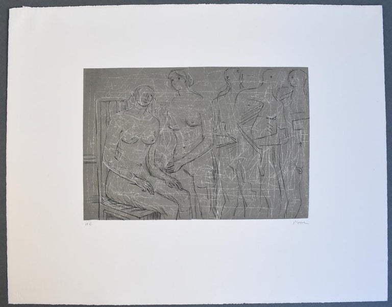 Group of Figures - British Figurative Abstract Art - Contemporary Print by Henry Moore