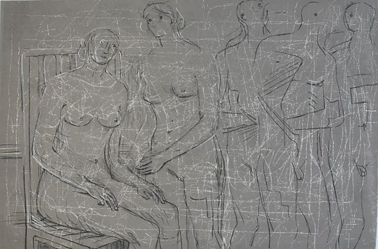 Group of Figures - British Figurative Abstract Art - Print by Henry Moore