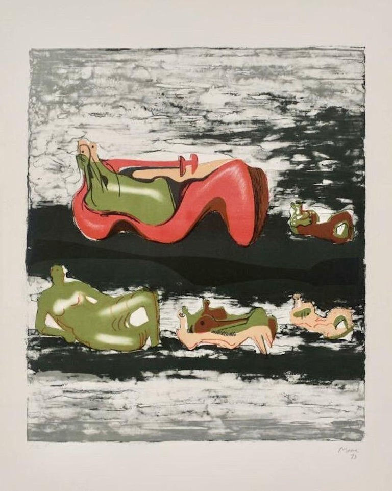 Henry Moore Abstract Print - Group of Reclining Figures