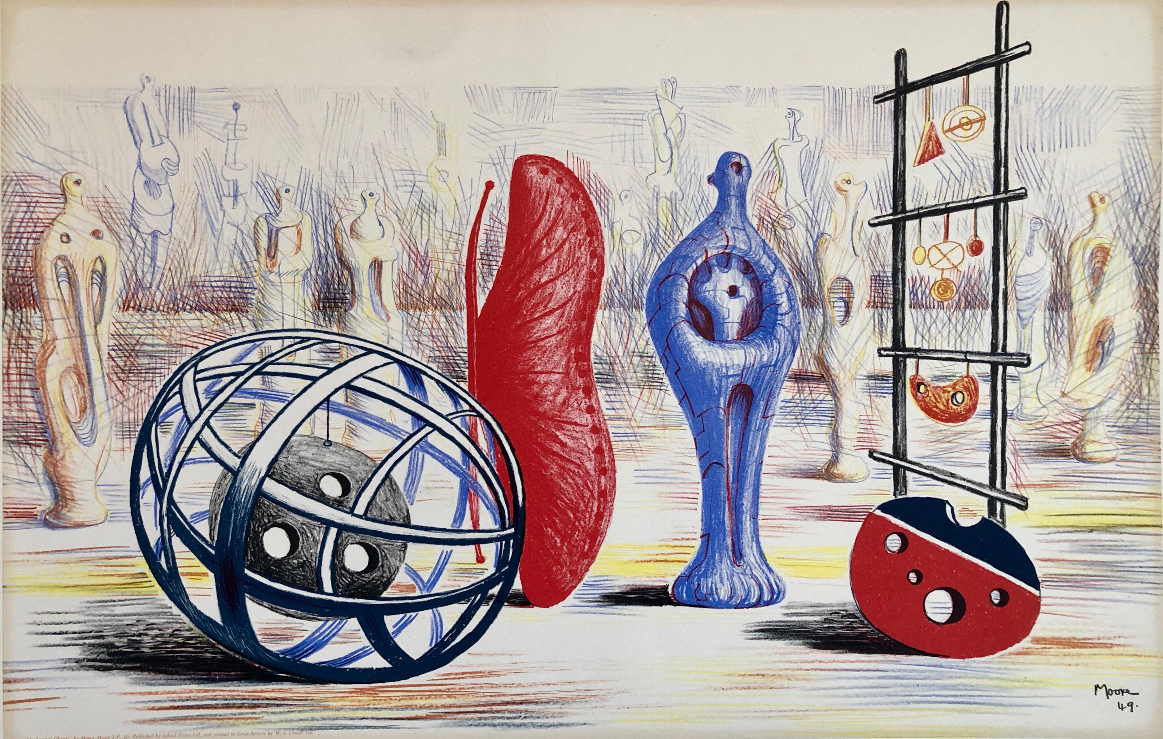 "Henry Moore 1949 School Prints Red Sculpture Lithograph ""sculptural Objects"""
