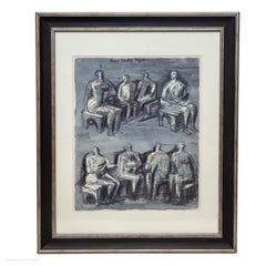 Henry Moore Four Seated Figures Off-set Lithograph 1958