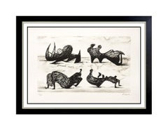 Henry Moore Lithograph HAND SIGNED Authentic Abstract Artwork Silhouette Figures