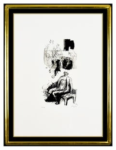 Henry Moore Original Lithograph Hand Signed Woman Seated Fireside Sculpture Art