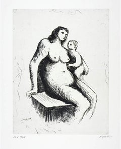 Henry Moore, Plate V, Mother & Child (C. 675), etching, aquatint, signed, 1983