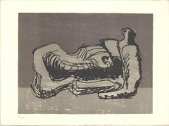 """Henry Moore-San Lazarro-10.25"""" x 14""""-Lithograph-Abstract-Brown, Black, White"""
