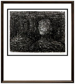 Henry Moore Thin Lips Armourer Lithograph Hand Signed Abstract Modern Artwork