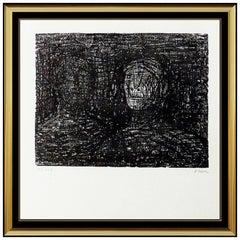 Henry Moore Thin Lips Armourer Original Lithograph Hand Signed Sculpture Artwork