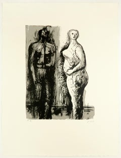 Man and Woman Henry Moore nude figure drawing for  W.H. Auden poetry book