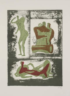 Reclining and Standing Figure and Family Group - Print by Henry Moore
