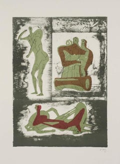 Reclining Figure and Standing Figure and Family Group, Hand-Signed Lithograph