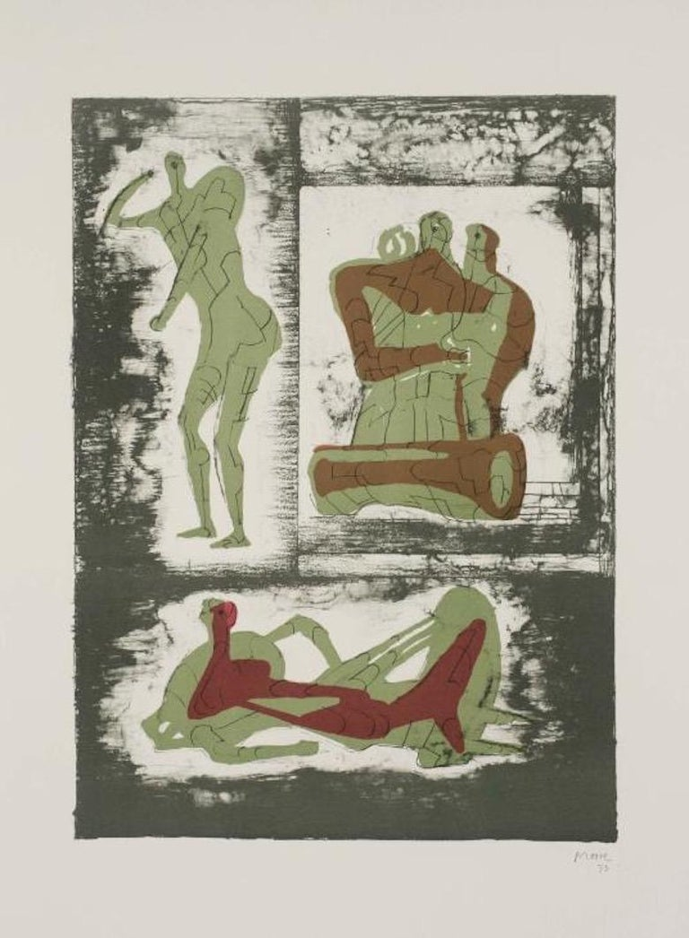 Henry Moore Figurative Print - Reclining Figure and Standing Figure and Family Group, Hand-Signed Lithograph