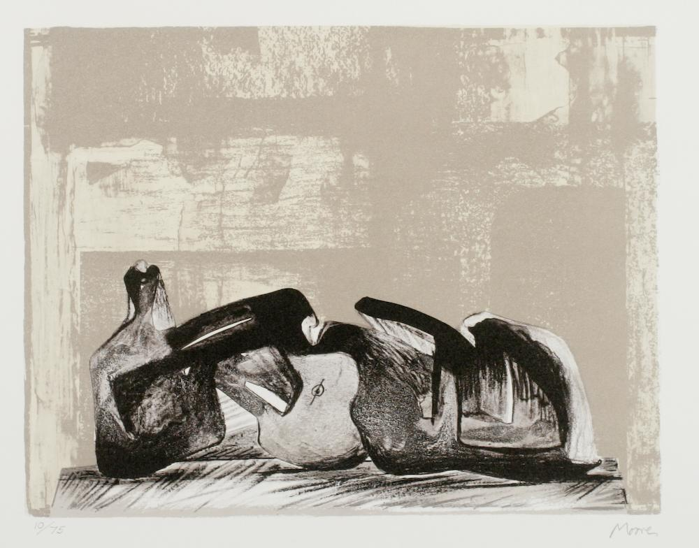 Reclining Figure Interior Setting I,  abstract lithograph