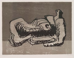 Reclining Figure - original modern Moore lithograph of his famous sculpture