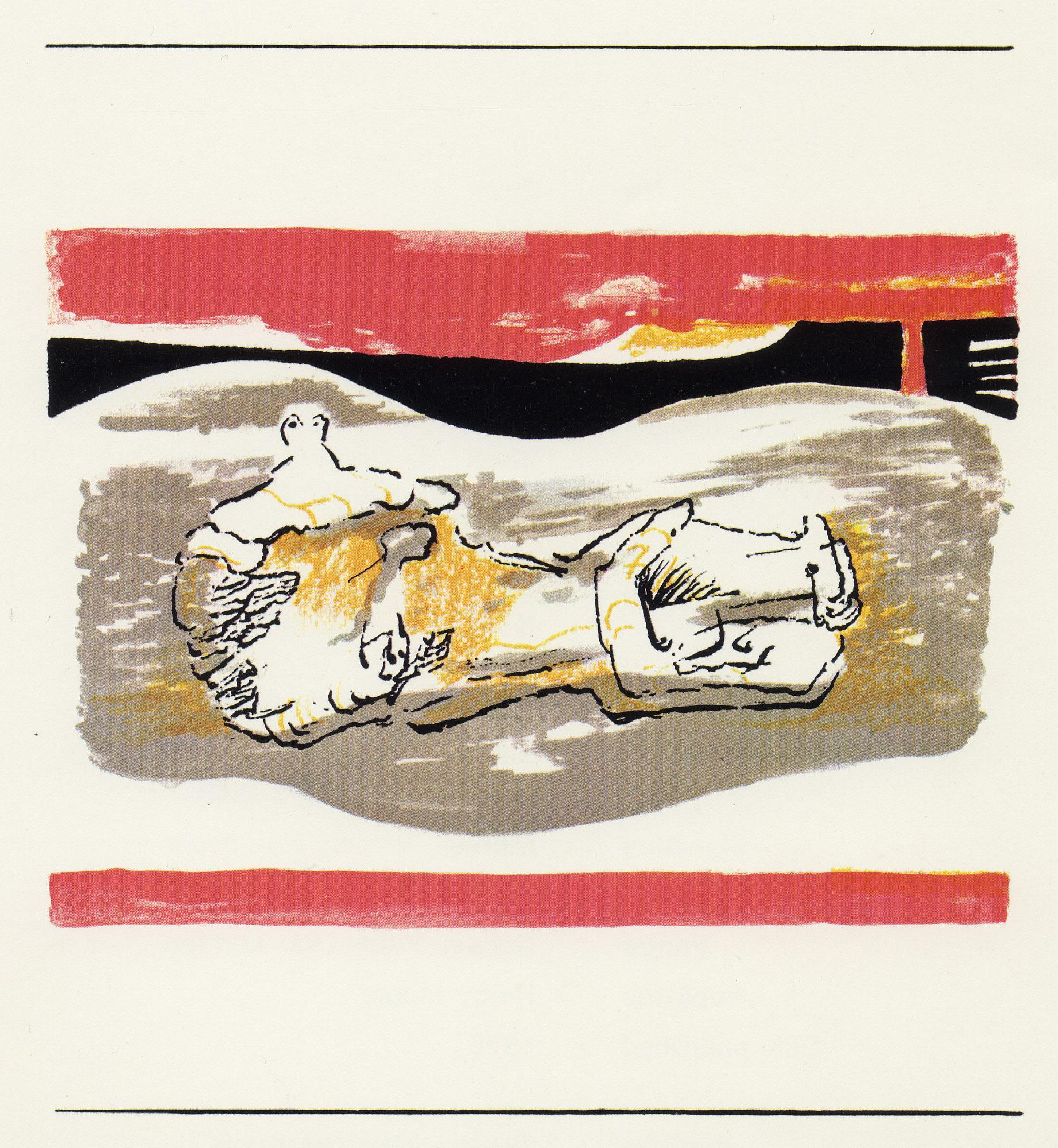 Reclining Figure with Red Stripes - 20th Century, Print by Henry Moore