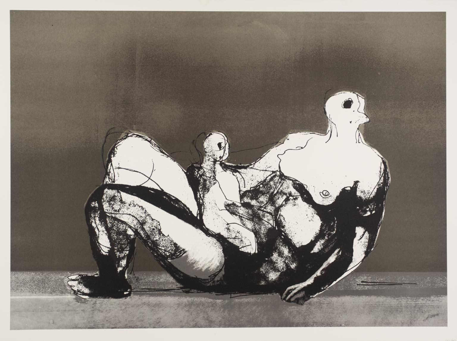 Reclining Mother and Child with Grey Background - Print by Henry Moore