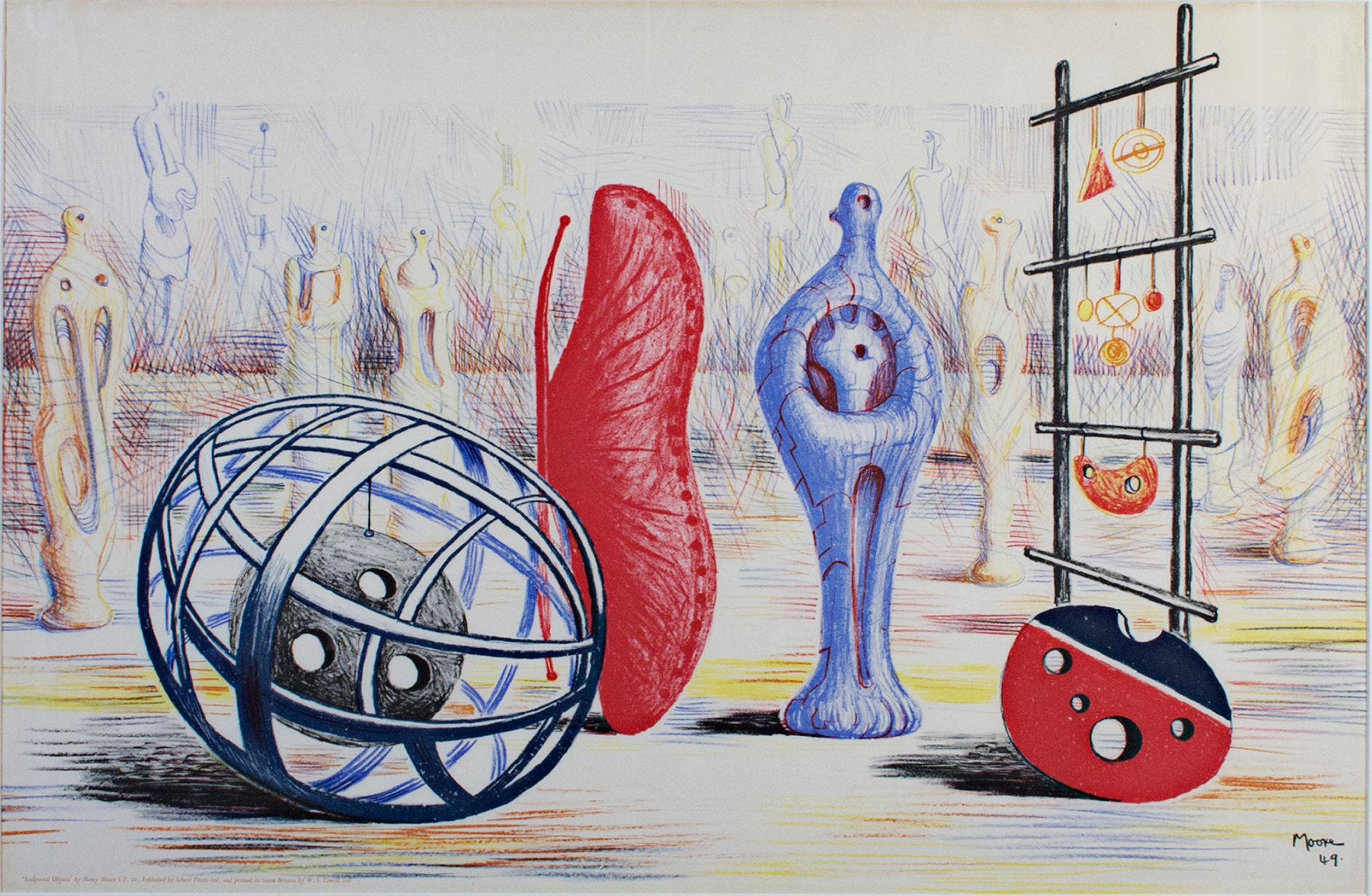 """""""Sculptural Objects,"""" Original Color Lithograph signed by Henry Moore"""