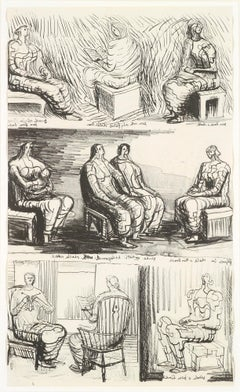 Seated Figures - 20th Century, Print by Henry Moore