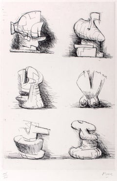 Six Sculpture Motives - Original Etching by Henry Moore - 1970
