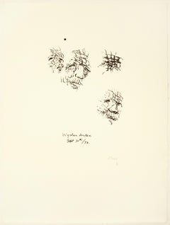Sketches of Auden: black drawing based on Auden poetry and Yorkshire landscape