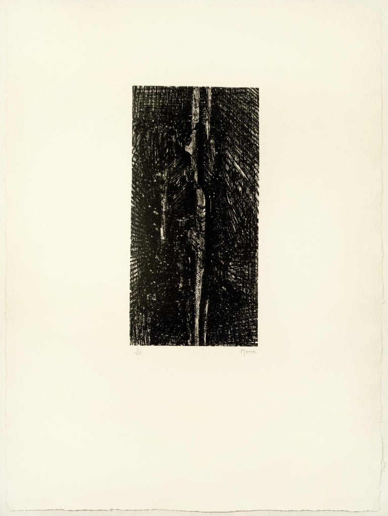 Henry Moore Landscape Print - Split Stone: abstract drawing based on Auden poetry and Yorkshire landscape