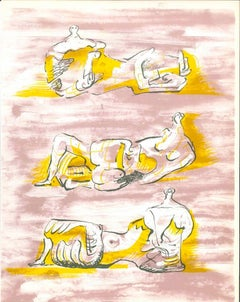 The Reclining Figures - Original Lithograph by Henry Moore - 1971