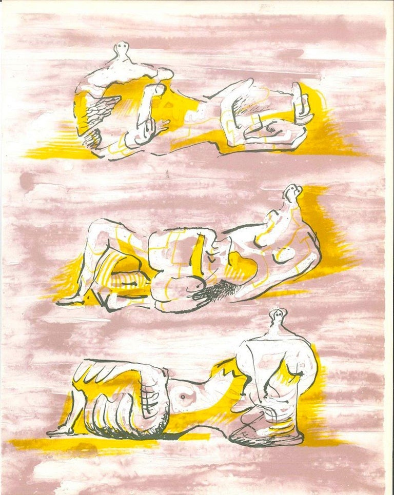 """Figures allongées is an original print by the British artist  Henry Moore (Castleford 1898 - Much Hadham 1986).  This color lithograph on paper, was edited by the French magazine """"XXe Siécle"""", and published on the Panorama 71- , number issue XXXIV,"""