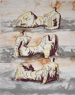 Three Reclining Figures - Lithograph British Art Reclining Figure