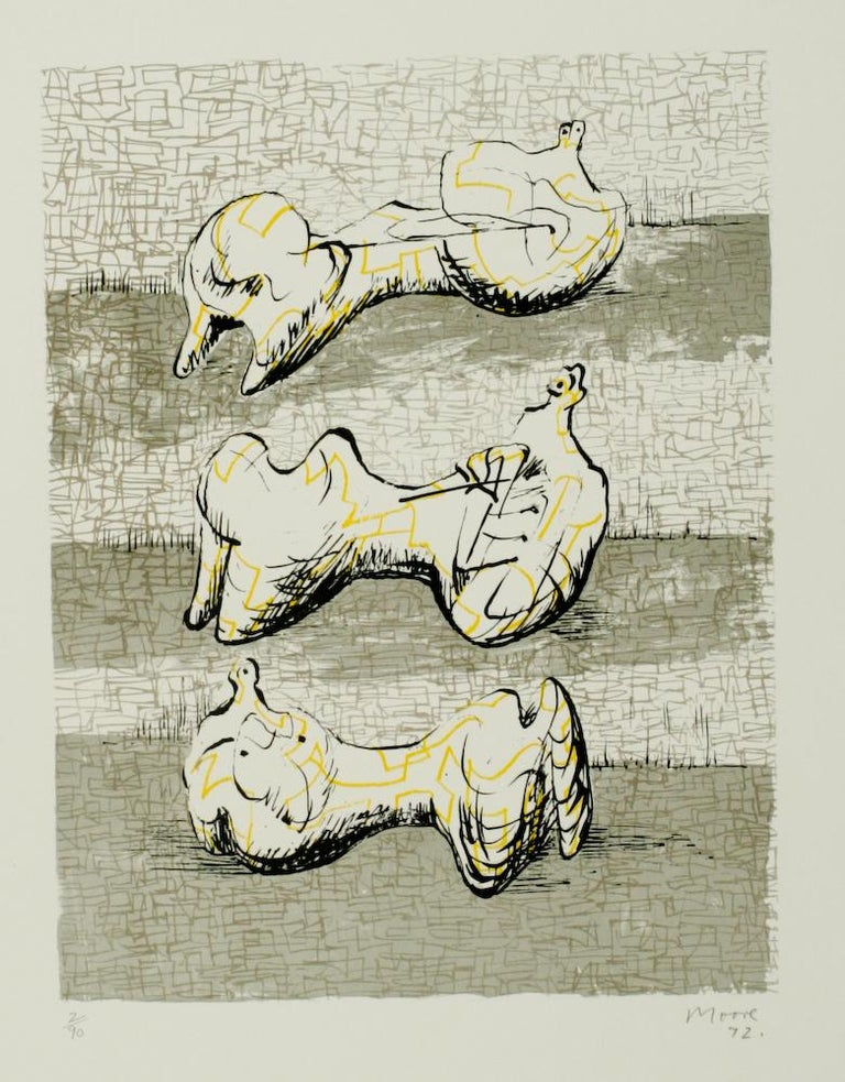Henry Moore Abstract Print - Three Reclining Figures, Modern Lithograph