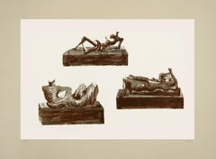 Three Reclining Figures on Pedestals - Original Lithograph by Henry Moore - 1976