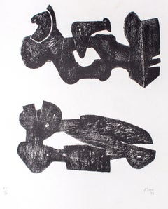 Two Black Forms - Metal Figures - Original Lithograph by Henry Moore - 1973