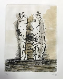Two Draped Standing Figures  - Etching by Henry Moore - 1973