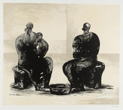 Two Women Bathing Child II - 20th Century, Print by Henry Moore