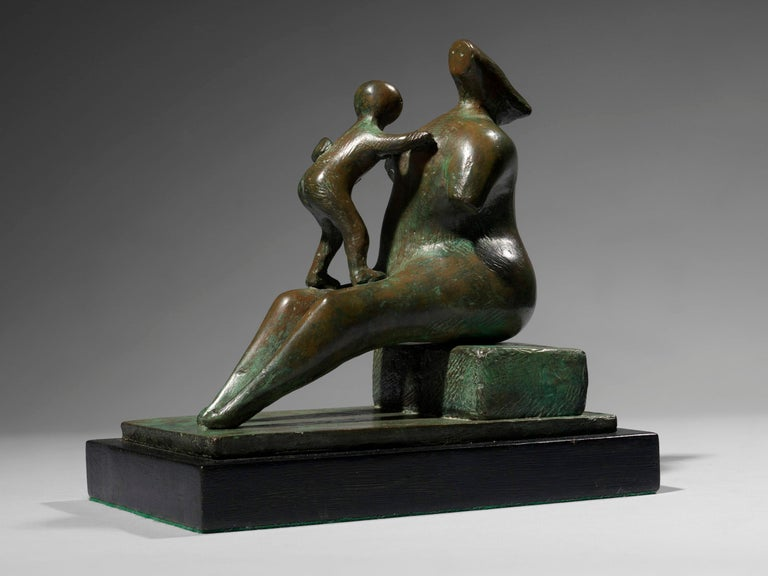 Henry Moore Figurative Sculpture - Mother and Child: Armless