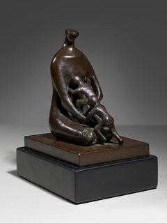 Mother with Twins - 20th Century, Bronze, Sculpture by Henry Moore