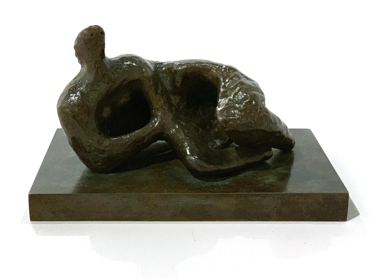 Henry Moore Figurative Sculpture - Reclining Figure Curved: Rough