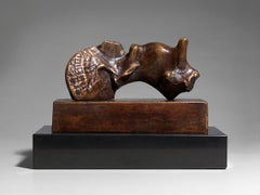 Reclining Girl: Shell Skirt - 20th Century, Sculpture, Bronze by Henry Moore
