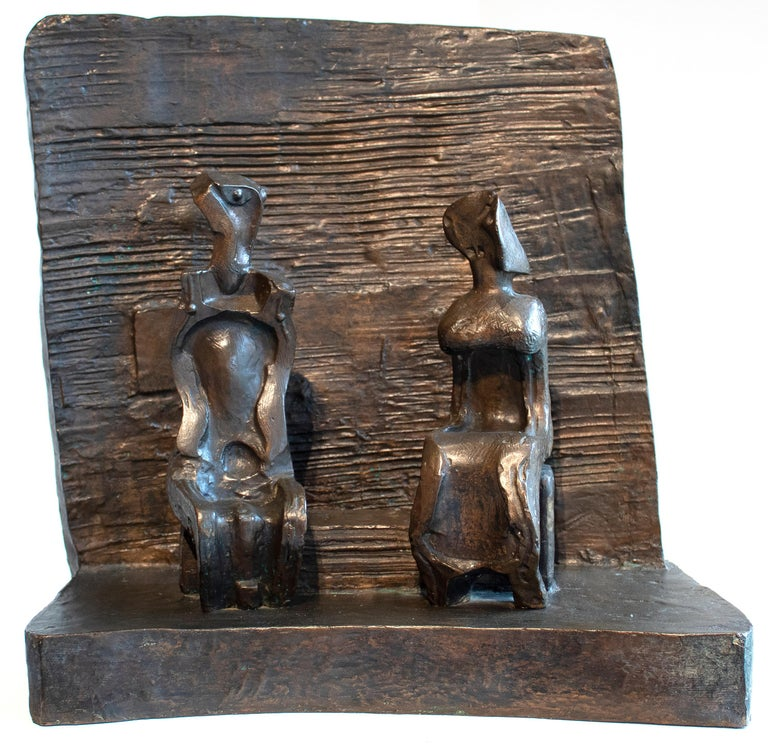 Henry Moore Figurative Sculpture - Two Seated Figures Against Wall