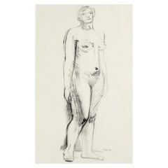 Henry Moore, Standing Nude, Pen, Ink, Charcoal on Paper, Figurative, 1930s