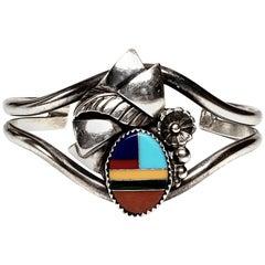 Henry Morgan Native American Sterling Silver Multi-Stone Inlay Cuff Bracelet