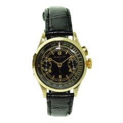 Henry Moser 14 Karat Gold Chronograph with a Rare Original Black Dial