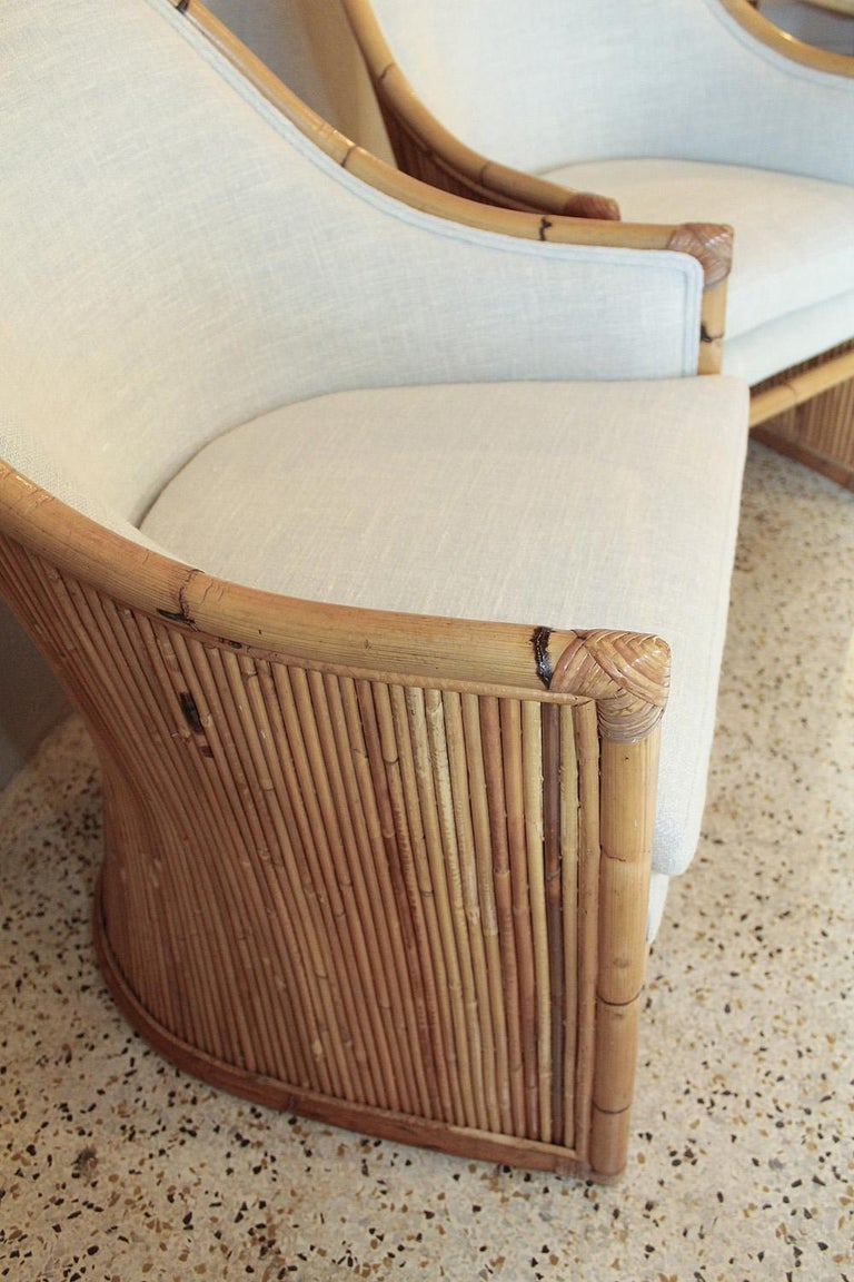 Henry Olko Bamboo Chairs with Cream Belgian Linen Upholstery - 2 Pair Available For Sale 5