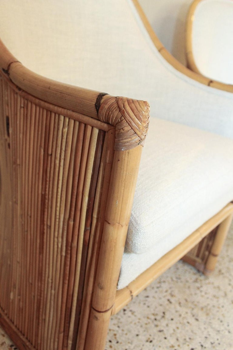 Henry Olko Bamboo Chairs with Cream Belgian Linen Upholstery - 2 Pair Available For Sale 6