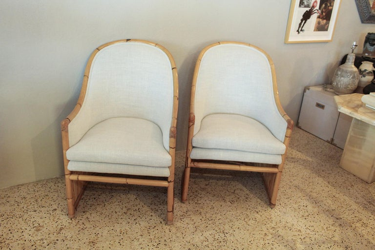 Organic Modern Henry Olko Bamboo Chairs with Cream Belgian Linen Upholstery - 2 Pair Available For Sale