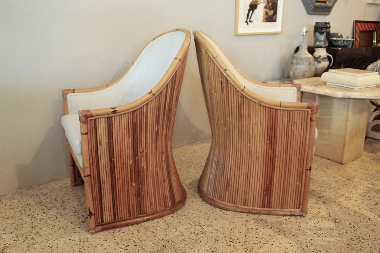 American Henry Olko Bamboo Chairs with Cream Belgian Linen Upholstery - 2 Pair Available For Sale