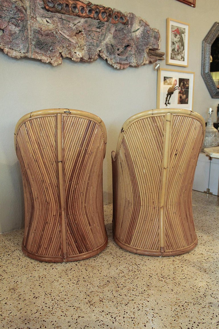 Henry Olko Bamboo Chairs with Cream Belgian Linen Upholstery - 2 Pair Available In Good Condition For Sale In North Miami, FL