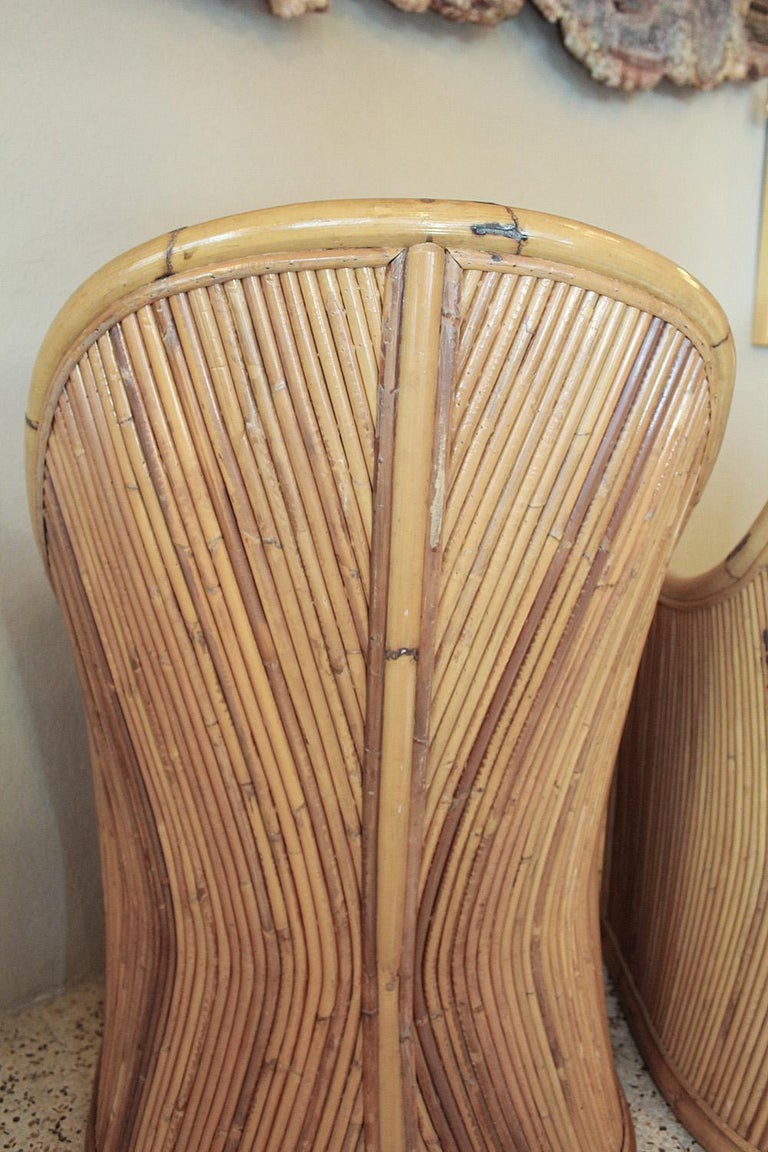 Henry Olko Bamboo Chairs with Cream Belgian Linen Upholstery - 2 Pair Available For Sale 2