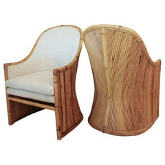 Henry Olko Bamboo Chairs with Cream Belgian Linen Upholstery - 2 Pair Available