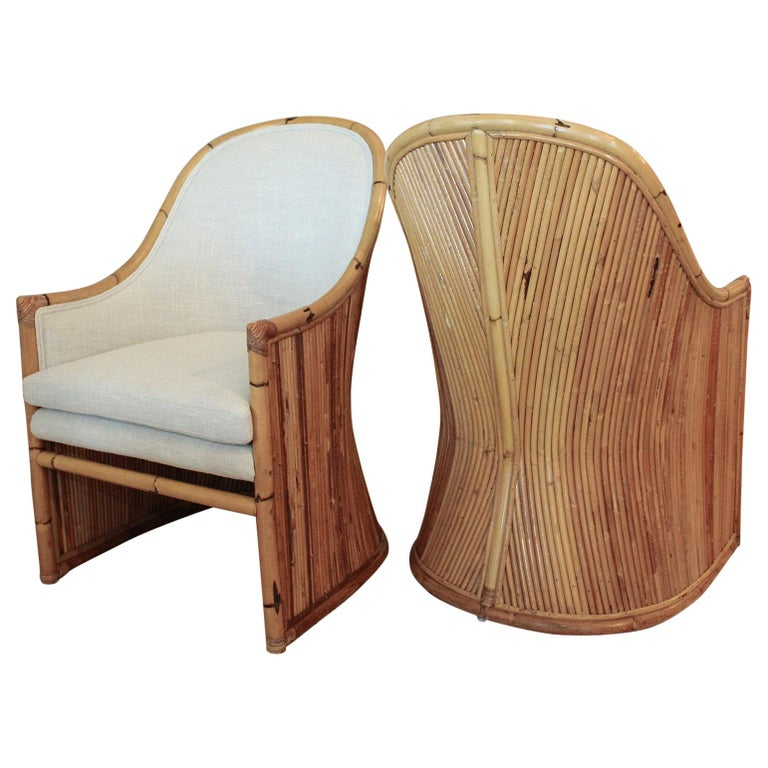 Henry Olko Bamboo Chairs with Cream Belgian Linen Upholstery - 2 Pair Available For Sale