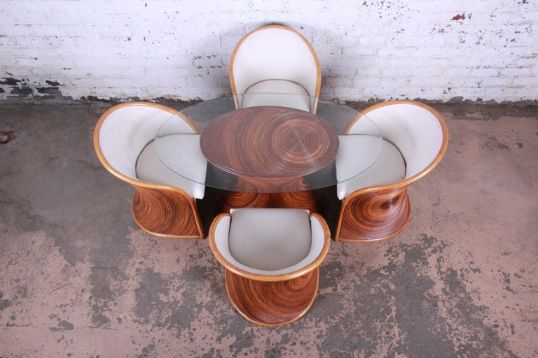 Mid-Century Modern Midcentury Bamboo Dining Set In The Manner Of Henry Olko, circa 1978 For Sale